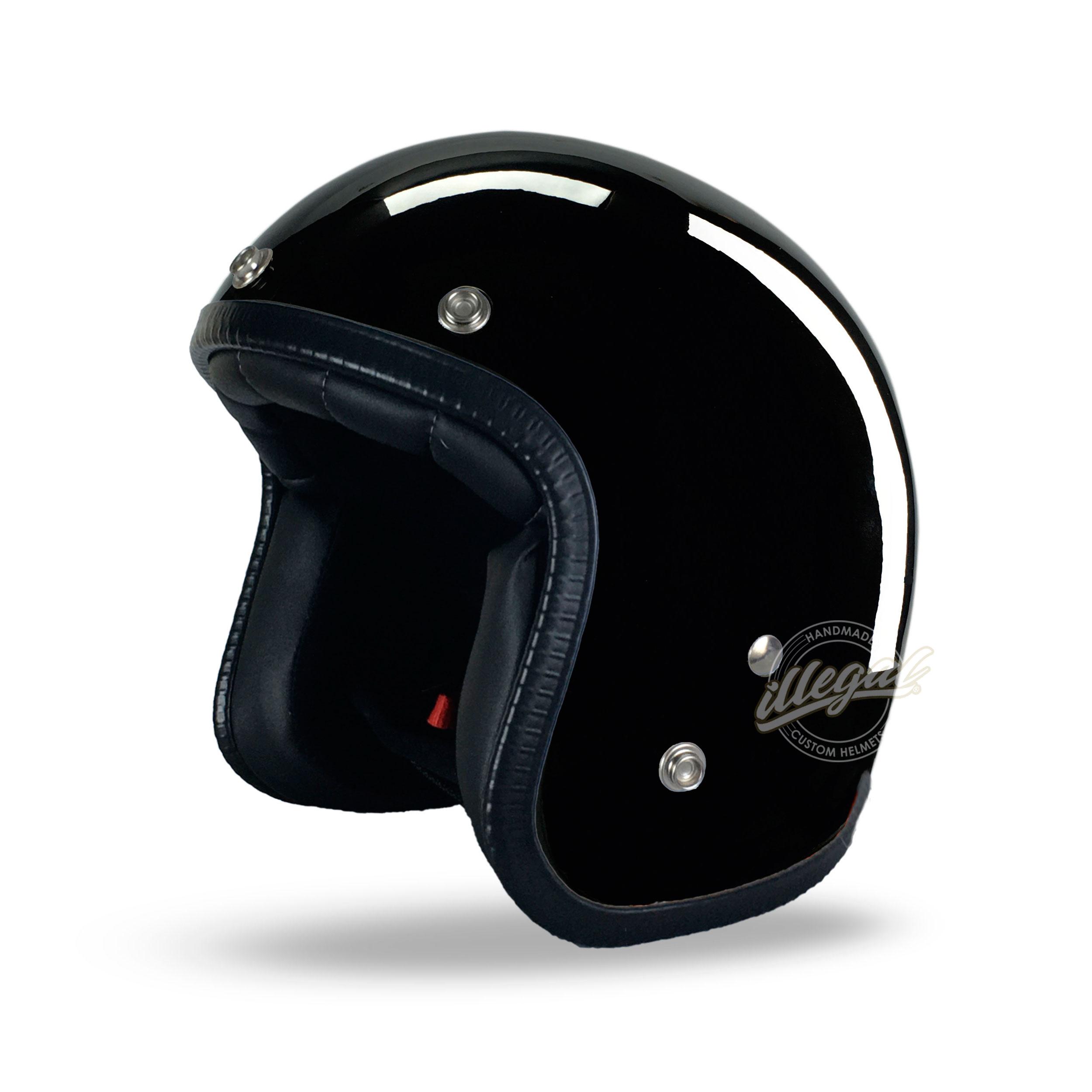 casco moto nero lucido