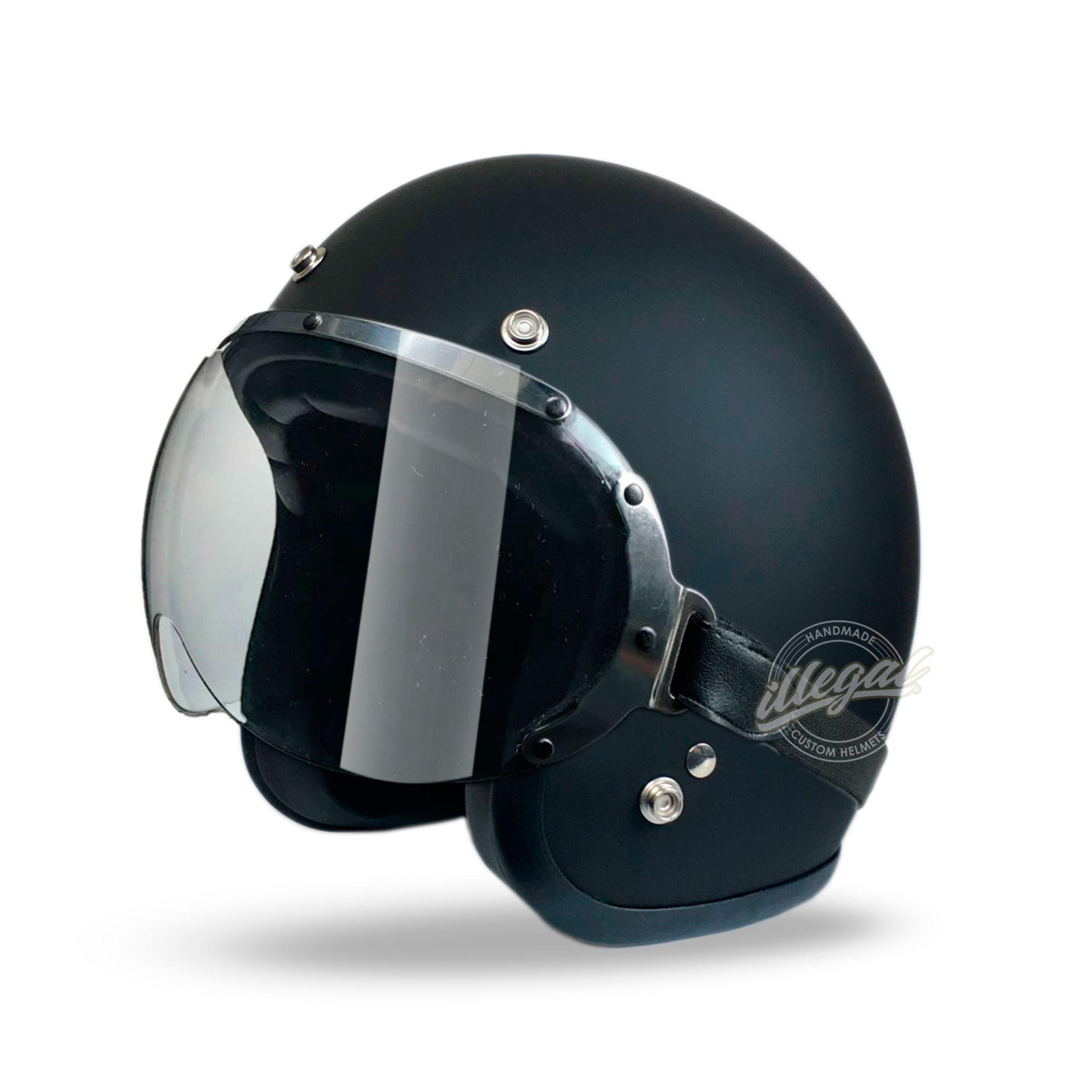 casco moto nero opaco visiera goggle