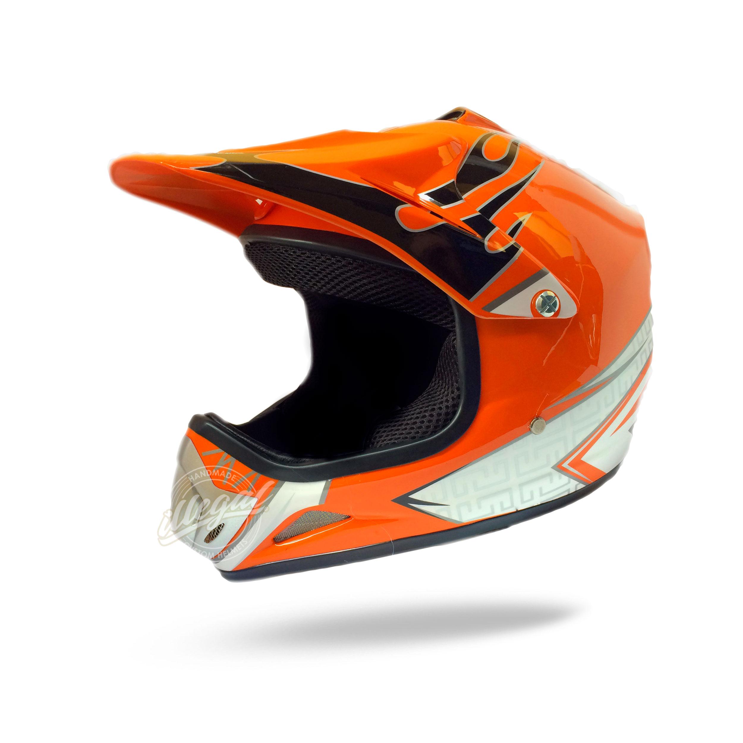 casco motocross bambino arancio