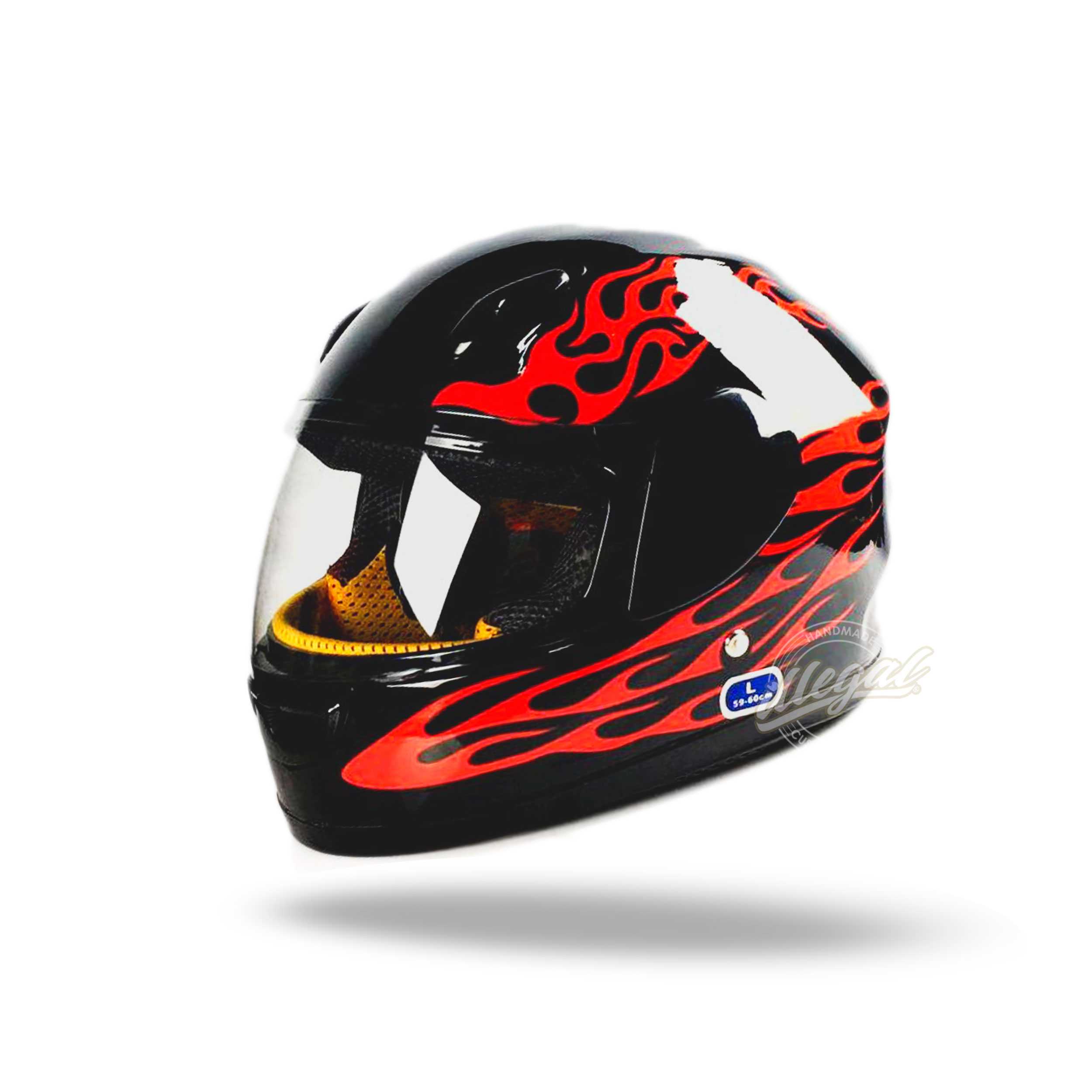 casco integrale moto fiamme bambino